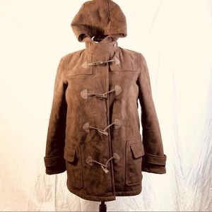 Chaps Sz large brown suede hooded coat boho